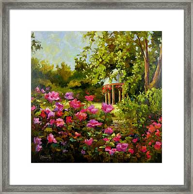 Framed Print featuring the painting Meet Me In The Garden by Chris Brandley