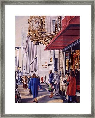 Meet Me Under Kaufmann's Clock Framed Print by James Guentner