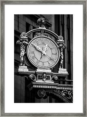 Meet Me Under The Clock Bw Framed Print