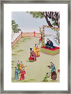 Meeting Between Confucius And Lao Tzu Framed Print