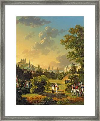 Meeting Between Napoleon I And Ferdinand IIi Framed Print by Hippolyte Lecomte