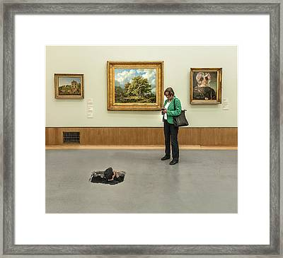 Meeting In The Museum Framed Print by Herbert A. Franke