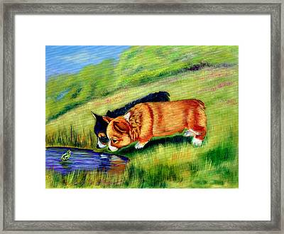 Meeting Mr. Frog Corgi Pups Framed Print by Lyn Cook