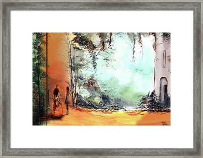 Framed Print featuring the painting Meeting On A Date by Anil Nene