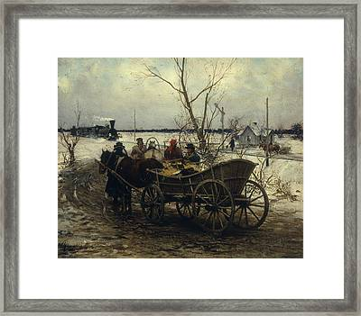 Meeting The Train Framed Print by Alfred Kowalski