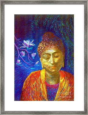 Meeting With Buddha Framed Print by Jane Small