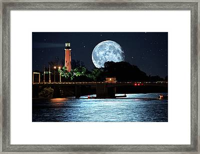 Mega Super Moon Rising Over Jupiter Lighthouse Framed Print