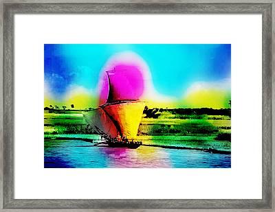 Meghna River, Bangladesh. Fishermen Sail Upstream Along The Bank Of The River. Framed Print by Golam Kibria