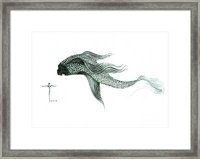 Framed Print featuring the drawing Megic Fish 1 by James Lanigan Thompson MFA