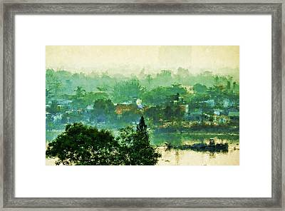 Framed Print featuring the digital art Mekong Morning by Cameron Wood