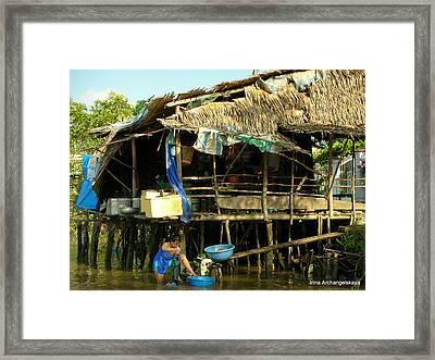 Mekong River Chores Framed Print