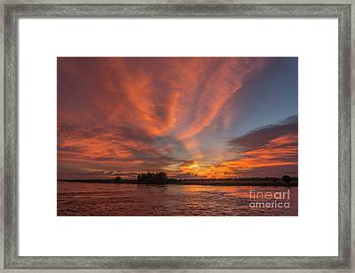 Framed Print featuring the photograph Mekong Sunset 3 by Werner Padarin