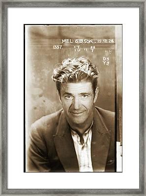 Mel Gibson Mug Shot Vertical Sepia Framed Print by Tony Rubino