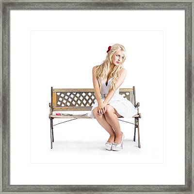 Melancholic Woman All Alone On Bench Chair Framed Print