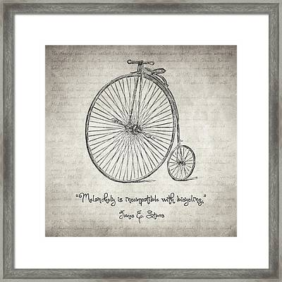 Melancholy Is Incompatible With Bicycling Framed Print by Taylan Apukovska