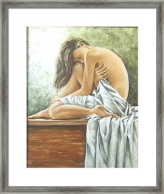 Framed Print featuring the painting Melancholy by Natalia Tejera