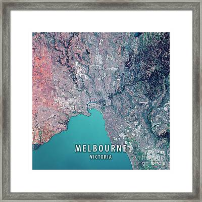 Melbourne 3d Render Satellite View Topographic Map Framed Print