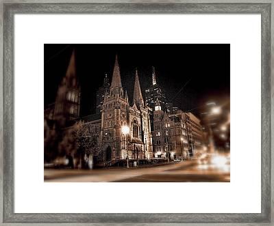 Melbourne By Night Framed Print by Douglas Barnard