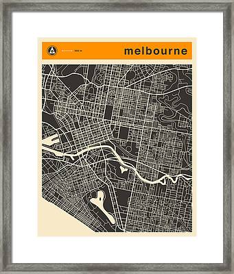Melbourne Map Framed Print by Jazzberry Blue