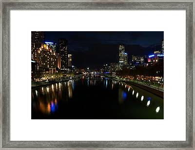 Melbourne Scene View From Middle Of The Pricess Bridge Framed Print by Win Naing