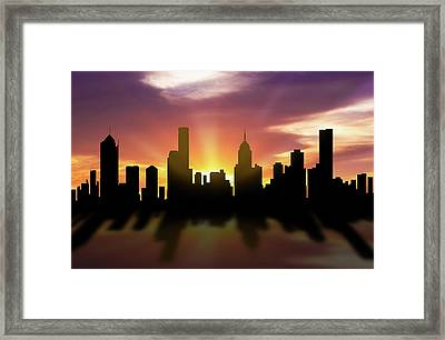 Melbourne Skyline Sunset Aume22 Framed Print by Aged Pixel
