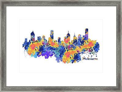 Melbourne Watercolor Skyline Framed Print