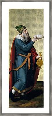 Melchizedek King Of Salem Framed Print by Juan de Juanes