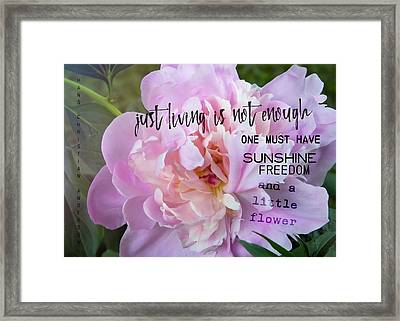 Melissa's Flower Quote Framed Print by JAMART Photography