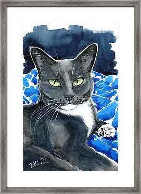 Melo - Blue Tuxedo Cat Painting Framed Print