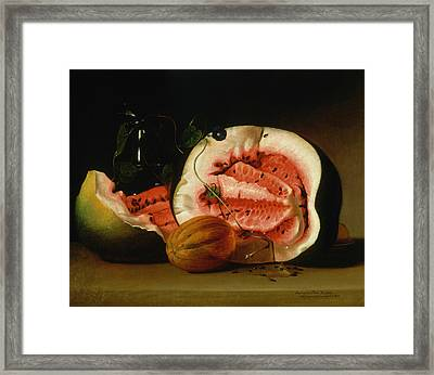 Melons And Morning Glories  Framed Print by Raphaelle Peale