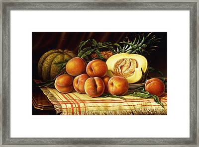 Melons, Peaches And Pineapple Framed Print
