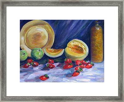 Melons With Strawberries Framed Print by Richard Nowak