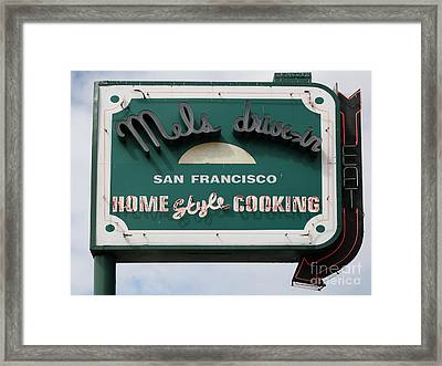 Mel's Drive-in Diner Sign In San Francisco - 5d18015 Framed Print by Wingsdomain Art and Photography