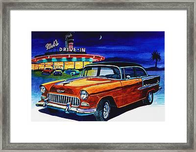 Mel's Drive In Framed Print by Jeff Blazejovsky