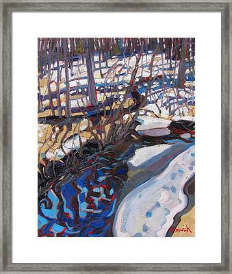 Melt Water And Ice At The Forest Edge Framed Print