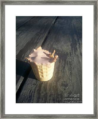 Melting Ice Cream Cone Framed Print by Emily Kelley