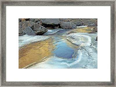 Melting Ice On The Big Thompson  River. Co Framed Print