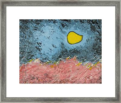 Framed Print featuring the painting Melting Moon Over Drifting Sand Dunes by Ben Gertsberg