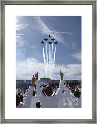 Members Of The U.s. Naval Academy Cheer Framed Print by Stocktrek Images