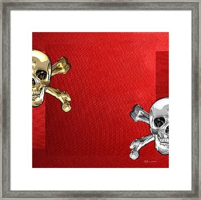 Memento Mori - Gold And Silver Human Skulls And Bones On Red Canvas Framed Print by Serge Averbukh