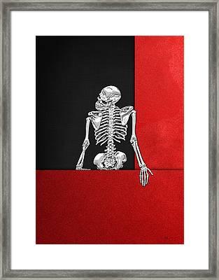 Memento Mori - Skeleton On Red And Black  Framed Print by Serge Averbukh