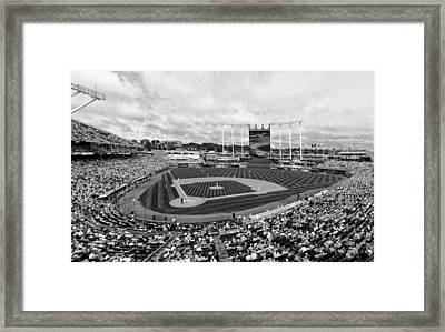 Memorial Day At Kauffman Stadium Bw Framed Print
