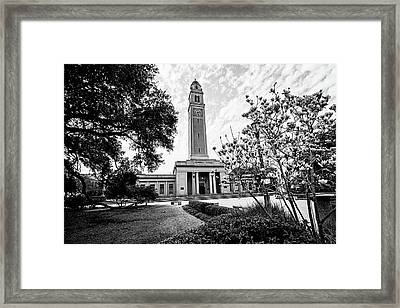 Memorial Tower In The Spring - Lsu Bw Framed Print