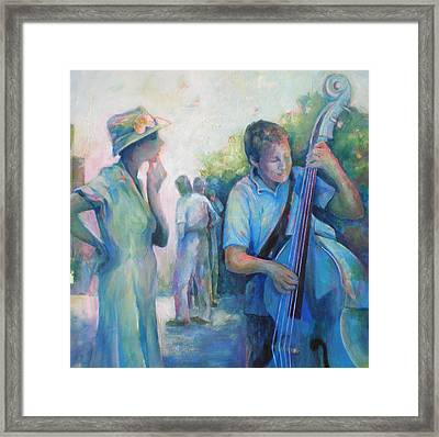 Memories -  Woman Is Intrigued By Musician.  Framed Print by Susanne Clark