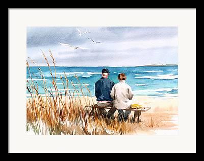 Couple On Beach Framed Prints