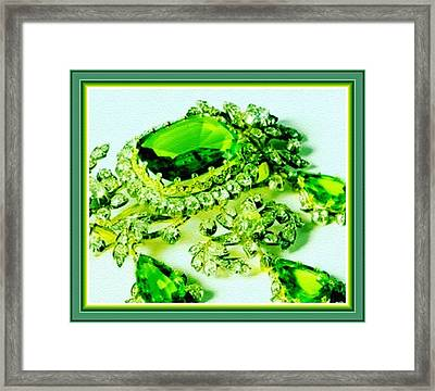 Memories Of Grandma's Brooches No. 18 H B With Decorative Ornate Printed Frame. Framed Print