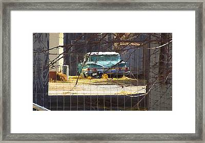 Memories Of Old Blue, A Car In Shantytown.  Framed Print