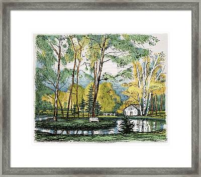 Old Europe In Stone Lithography. Golden Autumn Birch Foliage And Trees On Little Pond Island In Park Framed Print
