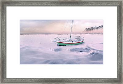 Framed Print featuring the photograph Memories Of Seasons Past - Prisoner Of Ice by John Poon