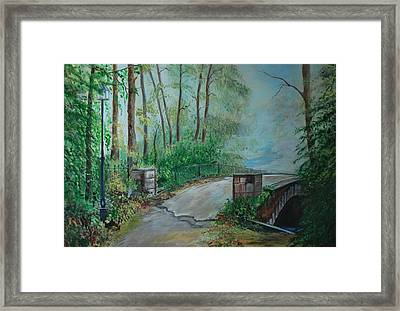 Framed Print featuring the painting Memory Bridge by Leslie Allen